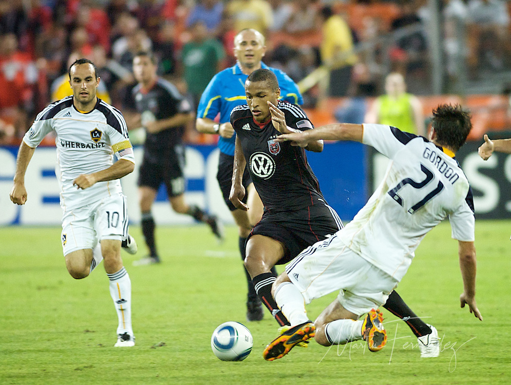 D.C. United defender Jordan Graye makes a run towards the LA goal. DC United continued their abysmal season with a 2-1 home loss to the visiting LA Galaxy at RFK Stadium in Washington DC.