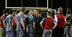 16 May 2015. New Orleans, Louisiana.<br /> National Premier Soccer League. NPSL. <br /> 2nd half. The New Orleans Jesters play Nashville FC at home in the Pan American Stadium. Jesters drew 1-1 with Nashville in a game that ended in a controversial equalizer from a free kick awarded to Nashville as the minutes wound down in extra time. Nashville gather at the end of the game.<br /> Photo; Charlie Varley/varleypix.com