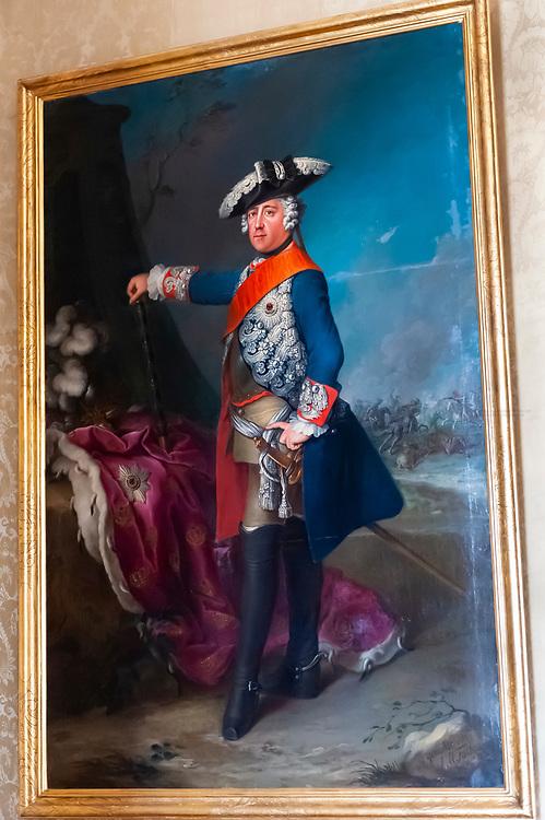 Portrait of Frederick the Great, New Palace (Neues Palais), Sanssouci Park (a UNESCO World Heritage site), Potsdam, Germany
