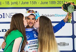 Luca Pacioni (ITA) of Androni-Sidermec-Bottecchia celebrates in blue jersey at trophy ceremony during Stage 1 of 24th Tour of Slovenia 2017 / Tour de Slovenie from Koper to Kocevje (159,4 km) cycling race on June 15, 2017 in Slovenia. Photo by Vid Ponikvar / Sportida
