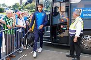 Wimbledon defender Toby Sibbick (20) arrives during the EFL Sky Bet League 1 match between Burton Albion and AFC Wimbledon at the Pirelli Stadium, Burton upon Trent, England on 1 September 2018.