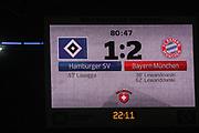 Fussball: 1. Bundesliga, Hamburger SV - FC Bayern Muenchen, Hamburg, 22.01.2016<br /> <br /> Anzeigetafel, Spielstand<br /> <br /> © Torsten Helmke