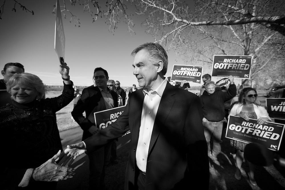 Alberta Premier Jim prentice campaigning in Calgary, Alberta, April 10, 2015. Photograph by Todd Korol