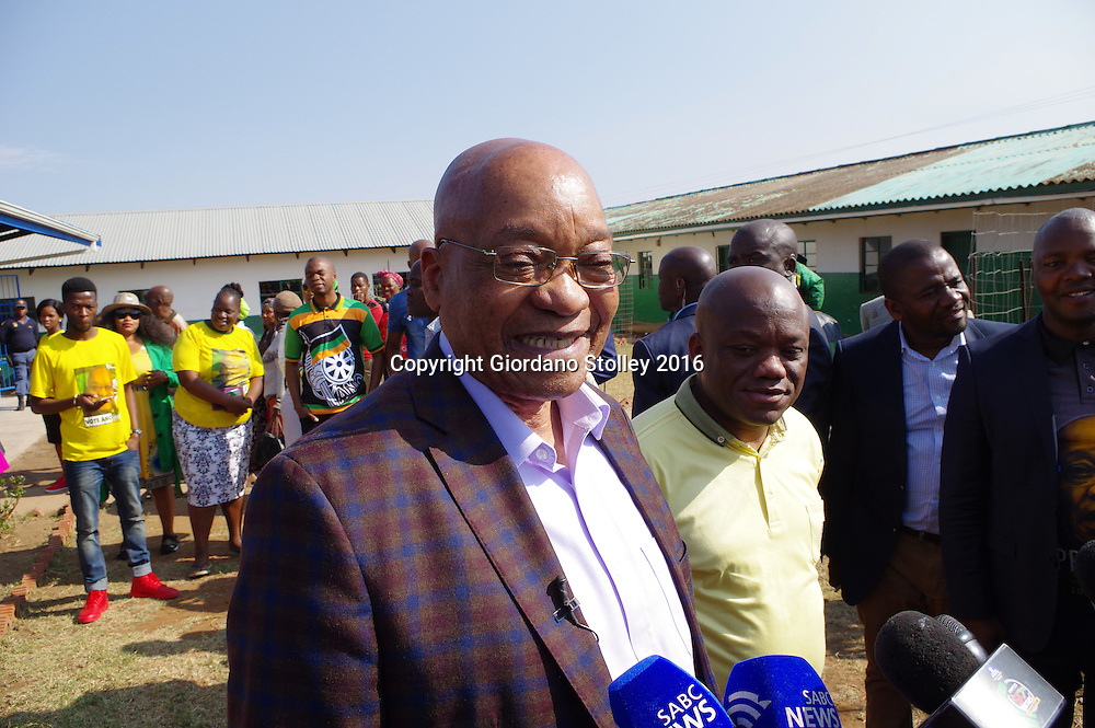 NKANDLA - 3 August 2016 - South Africa's President Jacob Zuma speaks to the media after he cast his vote at Ntolwane Primary School in Nkandla in the country's local government elections. Picture: Allied Picture Press/APP