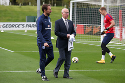 England manager Gareth Southgate (left) and Sir Bobby Charlton (centre left) during a training session for the media day at St George's Park, Burton upon Trent. Picture date: Monday October 2, 2017. See PA story SOCCER England. Photo credit should read: Nick Potts/PA Wire.