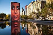 The Crown Fountain by Spanish artist Jaume Plensa in Millennium Park in Chicago, IL, USA.