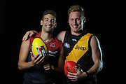 GOLD COAST, AUSTRALIA - NOVEMBER 22:  Jimmy Toumpas of Melbourne and Nick Valastuin of Richmond pose for a photograph during the 2012 AFL Draft at the Gold Coast Exhibition Centre on November 22, 2012 on the Gold Coast, Australia.  (Photo by Matt Roberts/Getty Images)
