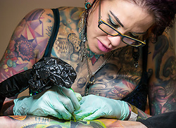 Pictured: Scottish Tattoo Convention. 30 March 2019  Pictured: Enthusiasts and 200 artists gather at the 9th Annual convention where many take the opportunity to have a new tattoo. <br /> Sally Anderson | EdinburghElitemedia.co.uk