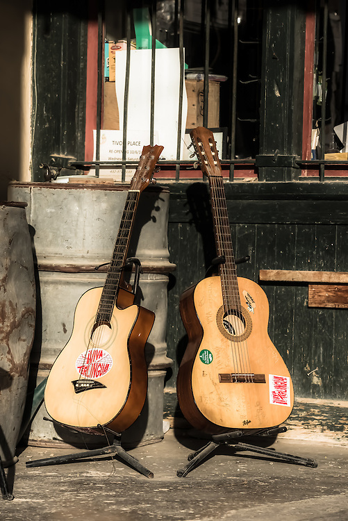 Guitars on the porch of the old company store of the Chisos Mining Company in the ghost town of Terlingua, Texas.