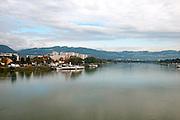 The Danube River flowing through Linz, Austria