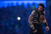 Roman Reigns enters the ring during WrestleMania on April 3, 2016 in Arlington, Texas.