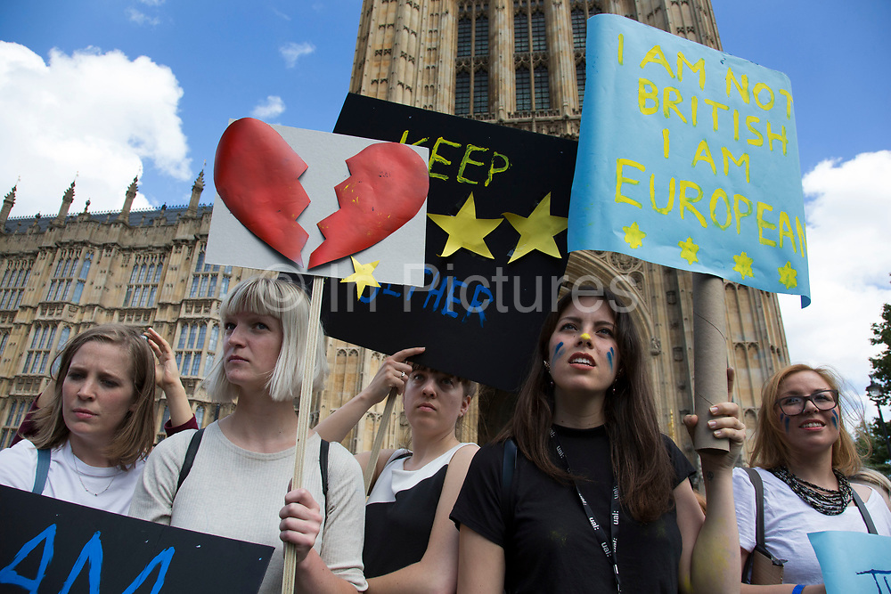 Protesters gather at College Green in Westminster outside the Houses of Parliamant following a Leave vote, also known as Brexit as the EU Referendum in the UK votes to leave the European Union on June 24th 2016 in London, United Kingdom. Membership of the European Union has been a topic of debate in the UK since the country joined the EEC, or Common Market in 1973. It will be the second time the British electorate has been asked to vote on the issue of Britains membership: the first referendum being held in 1975, when continued membership was approved by 67% of voters. The two sides are the  Leave Campaign, commonly referred to as a Brexit, and those of the Remain Campaign who are also known as the In Campaign.