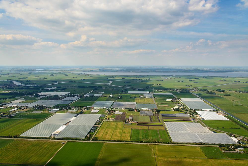 Nederland, Overijssel, Gemeente Zwartewaterland, 27-08-2013; Polder De Koekoek (Koekoekspolder), kassengebied in het noordwestelijkkwadrant van Polder Mastenbroek, ten Oosten van Kampen en IJsselmuiden. Zicht op Kampereiland.<br /> Polder De Koekoek, greenhouse area  in corner of mediaeval polder. Rural area East Holland.<br /> luchtfoto (toeslag op standaard tarieven);<br /> aerial photo (additional fee required);<br /> copyright foto/photo Siebe Swart.