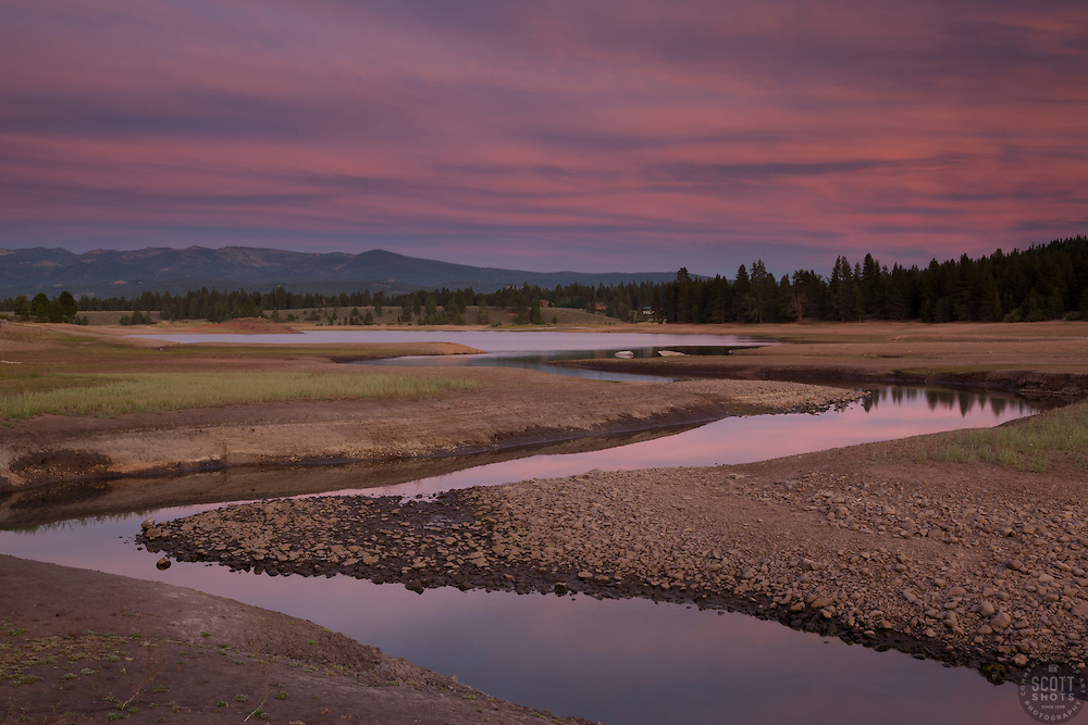 """Alder Creek at Prosser Reservoir Sunset 1"" - Photograph at sunset of Alder Creek at Prosser Reservoir near Truckee, California."