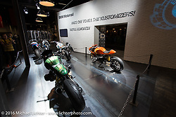 BMW had a second display set up in Hall 10 with its all custom focus that appropriately celebrated customizers and their craft at the Intermot Motorcycle Trade Fair. Cologne, Germany. Thursday October 6, 2016. Photography ©2016 Michael Lichter.