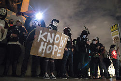 © Licensed to London News Pictures . 05/11/2016 . London , UK . Supporters of Anonymous , many wearing Guy Fawkes masks , attend the Million Mask March bonfire night demonstration , in Trafalgar Square in central London . Photo credit : Joel Goodman/LNP