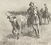 Cowboy going after a steer that has left the herd during a cattle drive: Montana. Engraving, 1885.