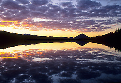 North America, Canada, British Columbia, Bowron Lake Provincial Park Canoe Route, Sugarloaf Mountain and Spectacle Lake at sunset