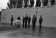 American President John F. Kennedy laying a wreath on the graves of the Leaders of the 1916 Rising at Arbour Hill, Dublin, IRELAND. .28.06.1963