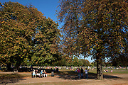 People out walking cycling and skating along Serpentine Road with the trees losing their leaves, enjoying the unseasonally hot weather as a summertime heat wave hits London and the UK in what should be Autumn. Summer prolonged in a heatwave which results in a packed Hyde Park as families and friends try to soak up the last rays of sunshine and warmth in this Indian Summer.