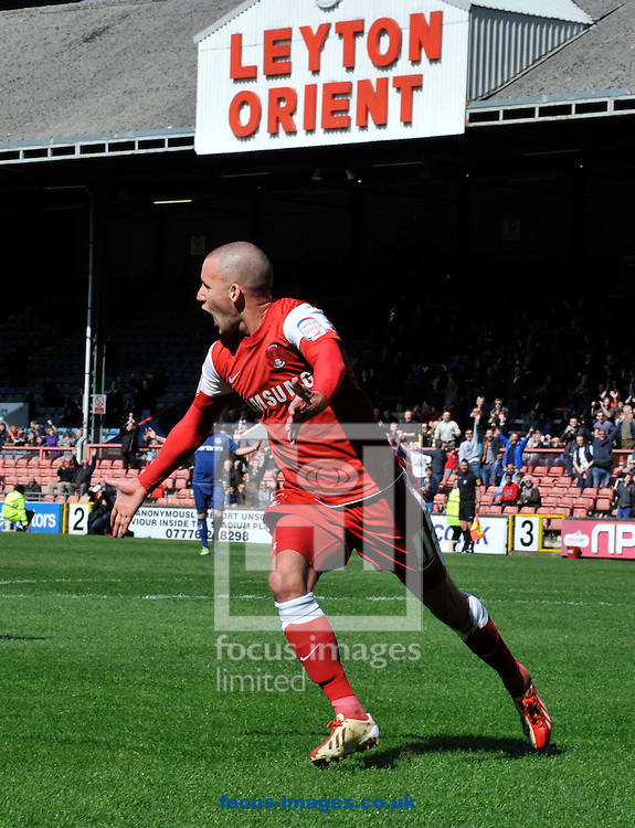Picture by Alan Stanford/Focus Images Ltd +44 7915 056117.27/04/2013.Jimmy Smith of Leyton Orient celebrates his goal during the npower League 1 match at the Matchroom Stadium, London.. .