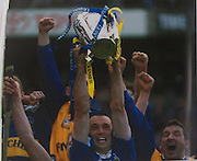 Tommy Dunne lifts the McCarthy Cup for Tipperary's 25th All-Ireland title in 2001.