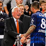 NLD/Amsterdam/20100731 - Wedstrijd om de JC schaal 2010 tussen Ajax - FC Twente, The Janssen word gefeliciteerd door Henk Kessler, Twente viert feest als winnaar van de Johan Cruijff Schaal 2010