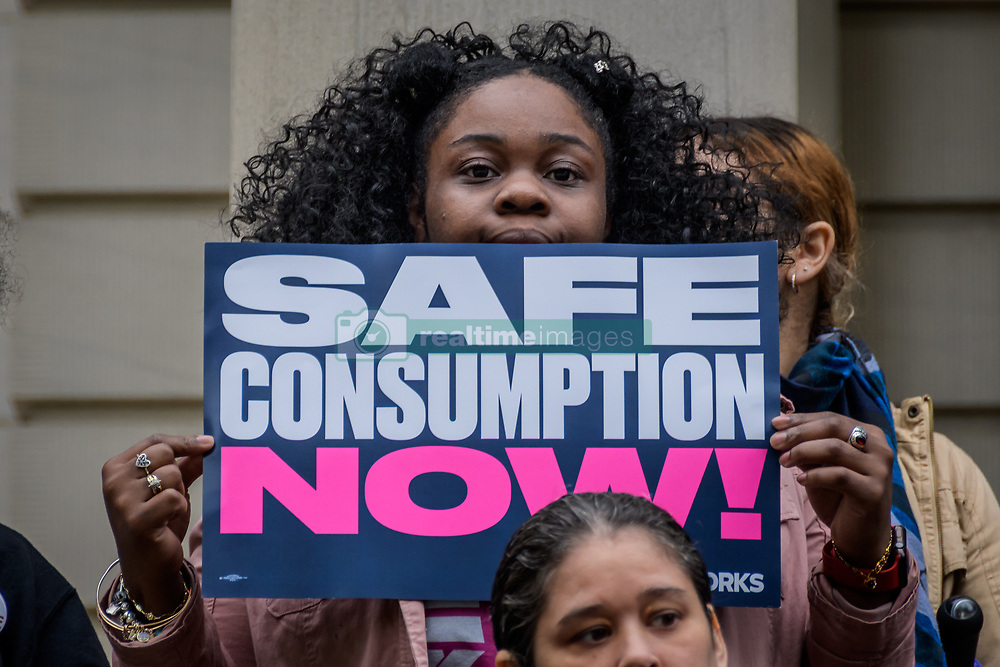 May 3, 2019 - New York, New York, United States - Community leaders, people who have been directly impacted by drug use or overdose, and drug policy activists returned to the steps of City Hall on May 3, 2019 united in anger as Governor Cuomo has refused to move forward with Overdose Prevention Centers. (Credit Image: © Erik Mcgregor/Pacific Press via ZUMA Wire)
