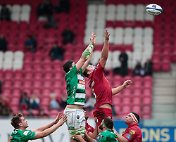 Scarlets' David Bulbring reaches for the line out ball<br /> <br /> Photographer Simon King/Replay Images<br /> <br /> EPCR Champions Cup Round 3 - Scarlets v Benetton Rugby - Saturday 9th December 2017 - Parc y Scarlets - Llanelli<br /> <br /> World Copyright © 2017 Replay Images. All rights reserved. info@replayimages.co.uk - www.replayimages.co.uk
