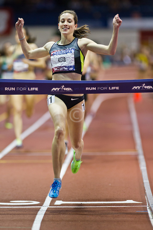 Millrose Games indoor track and field: Sheila Reid, CAN, women's mile, winner, Nike
