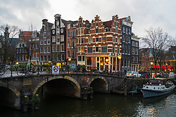 Evening view of canals in Amsterdam, Netherlands