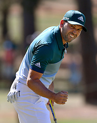 April 9, 2017 - Augusta, Georgia, U.S. - SERGIO GARCIA of Spain reacts to a birdie on the seventh hole to go eight-under on the final round of the 81st Masters golf tournament at Augusta National Golf Club. (Credit Image: © Brant Sanderlin/TNS via ZUMA Wire)