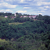 South America, Argentina, Iguacu Falls. View of Hotel Las Cataratas in Brazil.