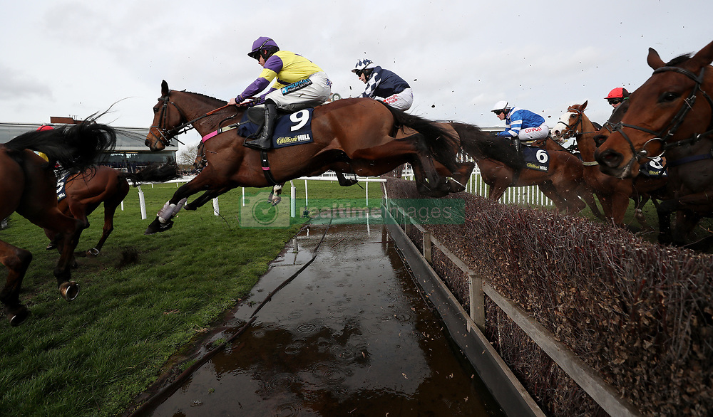 Happy Diva ridden by Richard Patrick in the William Hill Supporting Greatwood Gold Cup Handicap Chase at Newbury Racecourse.