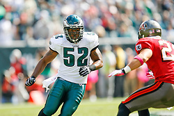 Philadelphia Eagles linebacker Tracy White #52 during the NFL game between the Tampa Bay Buccaneers and the Philadelphia Eagles on October 11th 2009. The Eagles won 33-14 at Lincoln Financial Field in Philadelphia, Pennsylvania. (Photo By Brian Garfinkel)