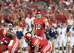 September 16, 2017 - Houston, TX, USA - Houston Cougars quarterback Kyle Allen (10) at the line of scrimmage during the first quarter of the college football game between the Houston Cougars and the Rice Owls at TDECU Stadium in Houston, Texas. (Credit Image: © Scott W. Coleman via ZUMA Wire)