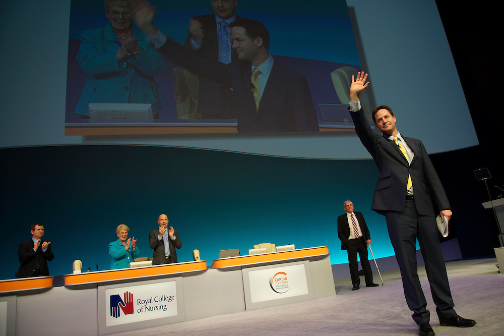 Liberal Democrat leader Nick Clegg campaigns on 27 April 2010, addressing a nursing conference at Bournemouth International Center in Bournemouth, UK.  With the general election looming on 6 May 2010, predicted to be one of the closest and most fiercely fought in decades, candidates are campaigning at a torrid pace, holding many events throughout the UK.