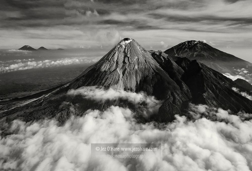 Mount Merapi, Merbabu, Sumbing & Sindoro, Yogyakarta, Central Java, Indonesia.