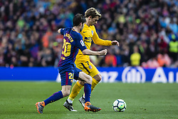 March 4, 2018 - Barcelona, Catalonia, Spain - 07 Griezman from France of Atletico de Madrid defended by 20 Sergi Roberto from Spain of FC Barcelona during La Liga match between FC Barcelona v Atletico de Madrid at Camp Nou Stadium in Barcelona on 04 of March, 2018. (Credit Image: © Xavier Bonilla/NurPhoto via ZUMA Press)