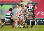 Wasps Back row James Gaskell runs at Leicester Tigers lock Tomás Lavanini during a Gallagher Premiership Round 10 Rugby Union match, Friday, Feb. 20, 2021, in Leicester, United Kingdom. (Steve Flynn/Image of Sport)