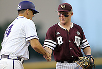 Texas A&M's Boomer White (8) shakes hands with TCU asst, head coach Bill Mosiello before the start of a NCAA college baseball Super Regional tournament game, Saturday, June 11, 2016, in College Station, Texas. (AP Photo/Sam Craft)