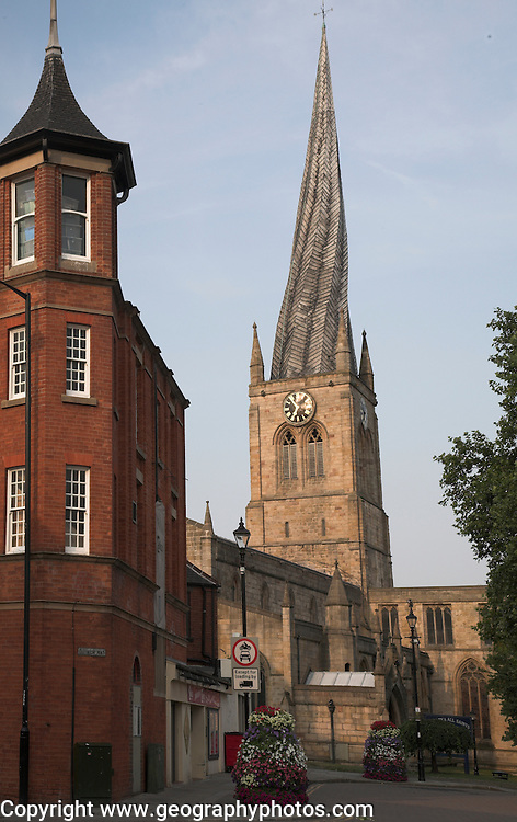 St Marys and All Saints Parish Church Chesterfield Derbyshire England. Famous church with crooked spire.