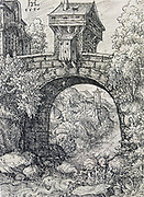 River landscape with Bridge', 1550. Pen-and-ink on paper. Hanns Lautensack (1520-1564) German artist and printmaker. Water Movement Arch Landscape