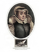 """Machine Colorized (AI) Catherine de' Medici (Italian: Caterina de' Medici, French: Catherine de Médicis, 13 April 1519 – 5 January 1589) was an Italian noblewoman. She also was queen consort of France from 1547 until 1559, by marriage to King Henry II, and mother of kings Francis II, Charles IX and Henry III. The years during which her sons reigned have been called """"the age of Catherine de' Medici"""" as she had extensive, if at times varying, influence in the political life of Franc Copperplate engraving From the Encyclopaedia Londinensis or, Universal dictionary of arts, sciences, and literature; Volume VII;  Edited by Wilkes, John. Published in London in 1810"""