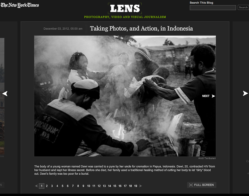 New York Times Lens Blog, 2012.  <br /> http://lens.blogs.nytimes.com/2012/12/03/taking-photos-%E2%80%94-and-action-%E2%80%94-in-indonesia/