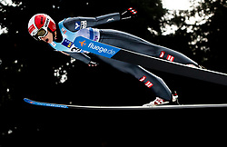 Eva Pinkelnig of Austria soaring through the air during Trial Round at Day 1 of World Cup Ski Jumping Ladies Ljubno 2019, on February 8, 2019 in Ljubno ob Savinji, Slovenia. Photo by Matic Ritonja / Sportida