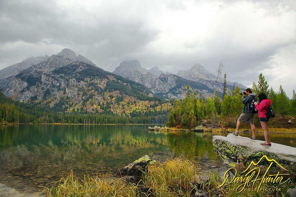 photographer capturing the autumn magic at Taggert Lake, Grand Tetons, Autumn Color, Reflection, Autumn Color,