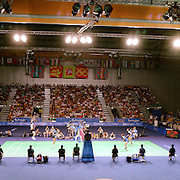 A panoramic image showing the Badminton tournament at Sydney Olympic Park as Simon Archer and Joanne Goode, Great Britain, win the bronze medal defeating Michael Søgaard and Rikke Olsen,  Denmark,  during the 2000 Sydney Olympic Games...Panoramic images from the Sydney Olympic Games, Sydney, Australia.  2000 . Photo Tim Clayton