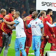 Galatasaray's and Trabzonspor's players during their Turkish superleague soccer derby match Galatasaray between Trabzonspor at the AliSamiYen spor kompleksi TT Arena in Istanbul Turkey on Sunday, 22 December 2013. Photo by TURKPIX