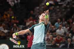 October 30, 2018 - Paris, France - MILOS RAONIC of Canada during his first round match v. J. Tsonga in the Rolex Paris Masters tennis tournament in Paris France. (Credit Image: © Christopher Levy/ZUMA Wire)